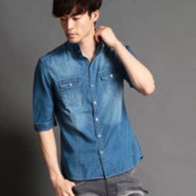 HIDEAWAYS 五分袖デニムシャツ (60ブルー)