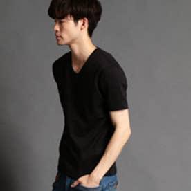 ハイダウェイ HIDEAWAYS ジャガード半袖VネックTシャツ (49ブラック)