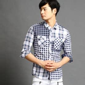 ハイダウェイ HIDEAWAYS クレイジーパターンシャツ (67ネイビー)