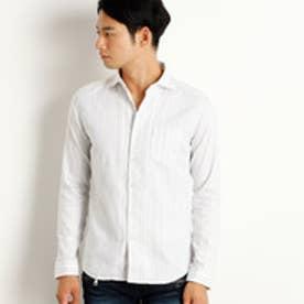 ハイダウェイ HIDEAWAYS ストライプホリゾンタルカラーシャツ (09ホワイト)