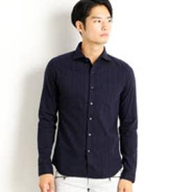 ハイダウェイ HIDEAWAYS ストライプホリゾンタルカラーシャツ (67ネイビー)