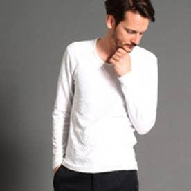 ハイダウェイ HIDEAWAYS リンクスジャカードクルーネック長袖Tシャツ (09ホワイト)