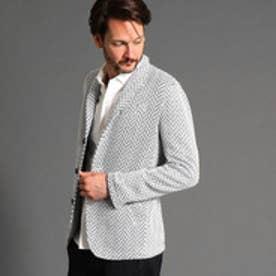 ハイダウェイ HIDEAWAYS ヘリンボン素材スタンドデザインジャケット (09ホワイト)