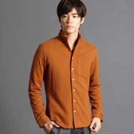 ハイダウェイ HIDEAWAYS ジオメトリック柄ジャカードシャツ (10オレンジ)