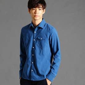 ハイダウェイ HIDEAWAYS ホリゾンタルカラーシャツ (60ブルー)