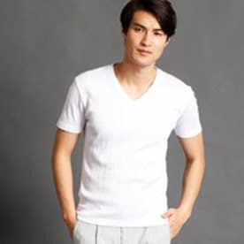ムッシュ ニコル MONSIEUR NICOLE テレコ半袖VネックTシャツ (09ホワイト)