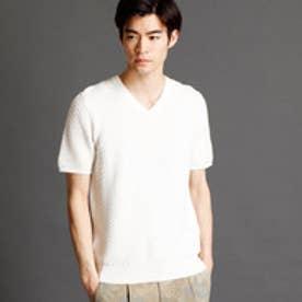 ムッシュ ニコル MONSIEUR NICOLE 幾何学柄サマーニットTシャツ (09ホワイト)