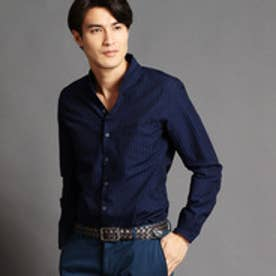ムッシュ ニコル MONSIEUR NICOLE ストライプ柄スタンドカラーシャツ (67ネイビー)