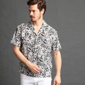 ムッシュ ニコル MONSIEUR NICOLE ボタニカル柄オープンカラーシャツ (49ブラック)