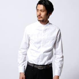 ムッシュ ニコル MONSIEUR NICOLE ボタニカル柄バンドカラーシャツ (09ホワイト)