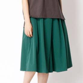 ニコル ホワイト NICOLE white ミドル丈タックフレアスカート (40グリーン)