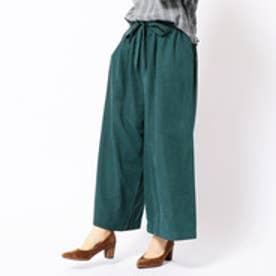 ニコル ホワイト NICOLE white ベルト付き起毛ワイドパンツ (40グリーン)