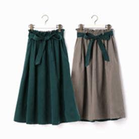 ニコル ホワイト NICOLE white ウエストリボン付きリバーシブルスカート (40グリーン)