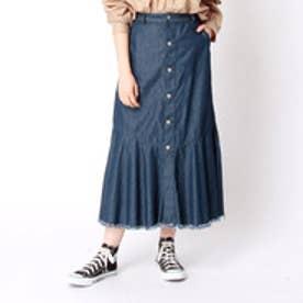 ニコル ホワイト NICOLE white 裾切替デニムスカート (60ブルー)