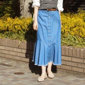 ニコル ホワイト NICOLE white 裾切替デニムスカート (64サックス)