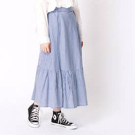 ニコル ホワイト NICOLE white ストライプ柄切替えスカート (60ブルー)