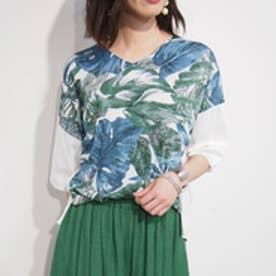 ニコル ホワイト NICOLE white ボタニカル柄切り替えTシャツ (60ブルー)