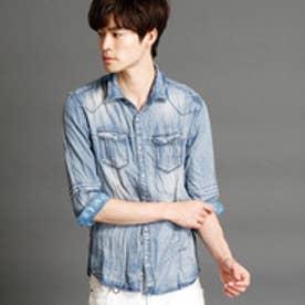 ニコルクラブフォーメン NICOLE CLUB FOR MEN 7分袖切り替えデザインシャツ (64サックス)