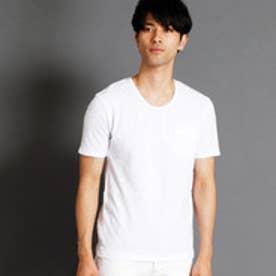 ニコルクラブフォーメン NICOLE CLUB FOR MEN 市松柄UネックTシャツ (09ホワイト)