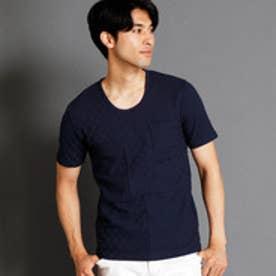 ニコルクラブフォーメン NICOLE CLUB FOR MEN 市松柄UネックTシャツ (67ネイビー)