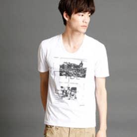 ニコルクラブフォーメン NICOLE CLUB FOR MEN フォト×ボックスプリントTシャツ (09ホワイト)