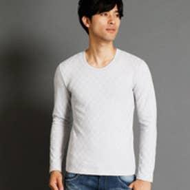 ニコルクラブフォーメン NICOLE CLUB FOR MEN 市松柄UネックTシャツ (19ライトグレー)
