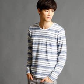 ニコルクラブフォーメン NICOLE CLUB FOR MEN マルチボーダー柄クルーネックTシャツ (09ホワイト)