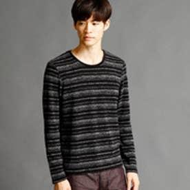 ニコルクラブフォーメン NICOLE CLUB FOR MEN マルチボーダー柄クルーネックTシャツ (49ブラック)