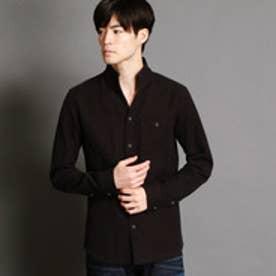 ニコルクラブフォーメン NICOLE CLUB FOR MEN カラミ風バスケットイタリアンカラーシャツ (39チャコールグレー)
