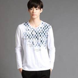 ニコルクラブフォーメン NICOLE CLUB FOR MEN アラカルトプリントロングスリーブTシャツ (09ホワイト)