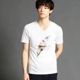 ニコルクラブフォーメン NICOLE CLUB FOR MEN フェザーモチーフプリントTシャツ (09ホワイト)