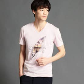 ニコルクラブフォーメン NICOLE CLUB FOR MEN フェザーモチーフプリントTシャツ (88ラベンダー)