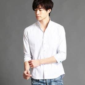 ニコルクラブフォーメン NICOLE CLUB FOR MEN イタリアンカラー七分袖シャツ (09ホワイト)