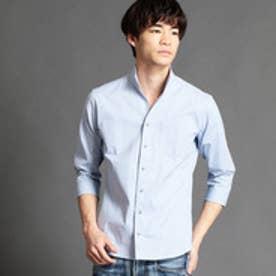 ニコルクラブフォーメン NICOLE CLUB FOR MEN イタリアンカラー七分袖シャツ (64サックス)