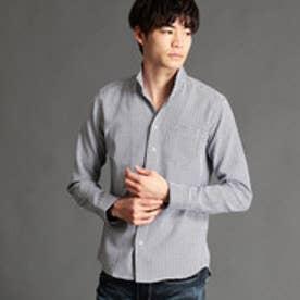 ニコルクラブフォーメン NICOLE CLUB FOR MEN 格子柄イタリアンカラーシャツ (49ブラック)