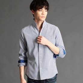 ニコルクラブフォーメン NICOLE CLUB FOR MEN 格子柄イタリアンカラーシャツ (60ブルー)