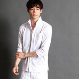 ニコルクラブフォーメン NICOLE CLUB FOR MEN イタリアンカラー7分袖カットシャツ (09ホワイト)