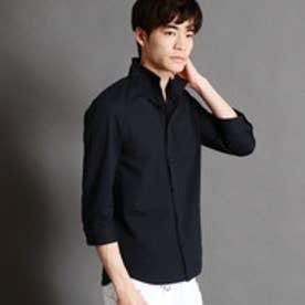 ニコルクラブフォーメン NICOLE CLUB FOR MEN イタリアンカラー7分袖カットシャツ (67ネイビー)