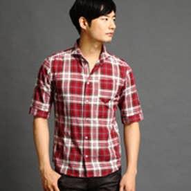 ニコルクラブフォーメン NICOLE CLUB FOR MEN ショートワイドカラー5分袖シャツ (01レッド)