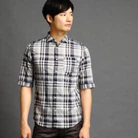 ニコルクラブフォーメン NICOLE CLUB FOR MEN ショートワイドカラー5分袖シャツ (39チャコールグレー)