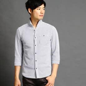 ニコルクラブフォーメン NICOLE CLUB FOR MEN 鹿の子ボーダー7分袖カットシャツ (09ホワイト)