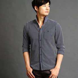 ニコルクラブフォーメン NICOLE CLUB FOR MEN 鹿の子ボーダー7分袖カットシャツ (67ネイビー)