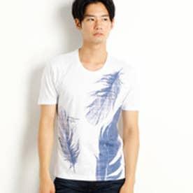 ニコルクラブフォーメン NICOLE CLUB FOR MEN フェザープリントTシャツ (09ホワイト)
