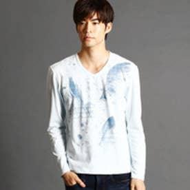 ニコルクラブフォーメン NICOLE CLUB FOR MEN フェザープリントロングTシャツ (64サックス)