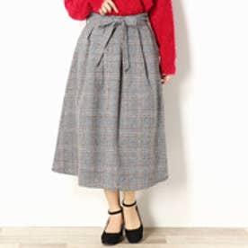 セレクション レディス SELECTION LADYS チェック柄ミモレ丈フレアスカート (19ライトグレー)