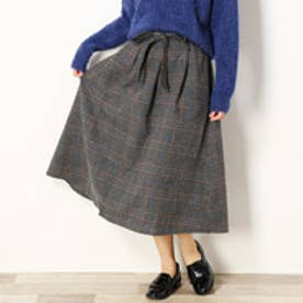 セレクション レディス SELECTION LADYS チェック柄ミモレ丈フレアスカート (39チャコールグレー)