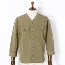 ヴィタル ムッシュ ニコル vital MONSIEUR NICOLE ノーカラーシャツ (46カーキ)