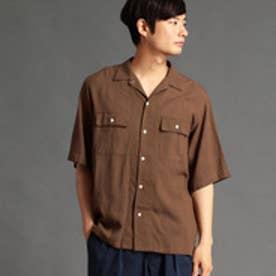 vital MONSIEUR NICOLE リネン混オープンカラーシャツ (13ブラウン)