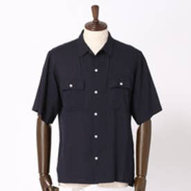 vital MONSIEUR NICOLE リネン混オープンカラーシャツ (67ネイビー)