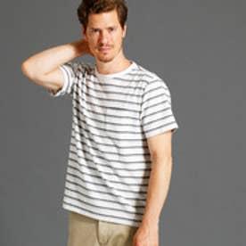 ヴィタル ムッシュ ニコル vital MONSIEUR NICOLE リップル加工ボーダー柄Tシャツ (09ホワイト)